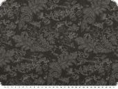Stretch denim jeansfabric, paisley, dark grey, 135cm