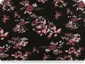 Viscose jersey, flowers, black-wold rose, 145cm