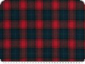 Cotton plaid fabric, red-blue, roughened, 145cm