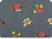 Sweatshirt fabric with roses, jeans blue, 150cm