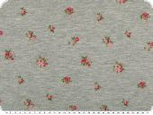 Sweatshirt fabric with small roses, light grey, 150cm