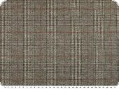 Knit stretch fabric, checks, grey-olive-orange, 145cm