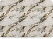 Cotton jersey, digital print, marble look, white-brown, 155c