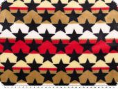 Fleece, stars and stripes, blue-red-brown, 150cm