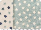Fleece, stars, doubleface, light blue-white, 150cm