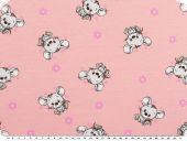 Cotton Jersey, children fabric, mice, rose pink, 150cm