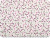 Digital cotton print, tendrils, white-fuchsia-green, 150cm