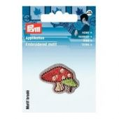 Embroidered motif, toadstool, multicolour, for ironing on