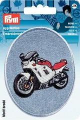 Embroidered motif, motorbike, multicolour, for ironing on