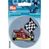 Embroidered motif, racing car, red on light blue
