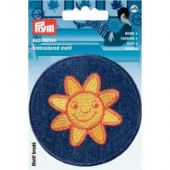 Embroidered motif, patch sun, blue-yellow, for ironing on
