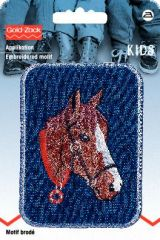 Embroidered motif, horse's head, brown on blue