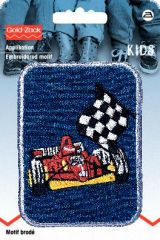 Embroidered motif, racing car, multicolour, for ironing on