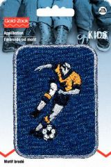 Embroidered motif, football player, multicolour, for ironing