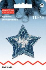 Embroidered motif, jeans, star, blue-silver, for ironing on