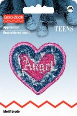 Embroidered motif, denim heart, angel, for ironing on