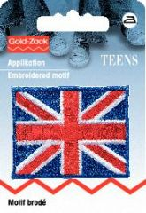 Embroidered motif, UK flag, for ironing on