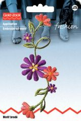 Embroidered motif, flower shoot, multicolour, for ironing on