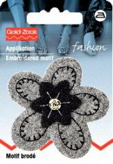 Embroidered motif, felt flower, grey-black, for ironing on