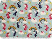 Cotton poplin, unicorns and rainbows, light blue, 150cm