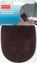 Patches imitation suede, for ironing on, dark brown, 2pcs.