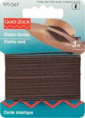 Gold Zack elastic cord, 1,5mm, L: 3m, brown