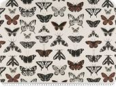 Deco fabric, digital print, butterflies, ecru-black, 140cm