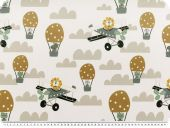 Half panama deco fabric, digital print, animals and planes