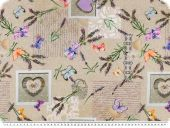 Deco fabric, loneta, lavender, hearts and butterflies, 140cm