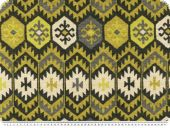Deco fabric, aztec pattern, yellow green-white, 140