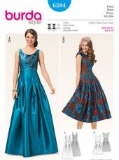 Burda pattern, evening dress with pleated skirt, size: 32-44