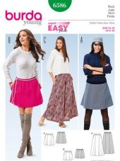 Burda pattern, skirt with elastic waist, size: 32-46