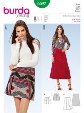 Burda pattern, flared skirt - overskirt panels, size: 34-46