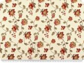 Jacquard deco fabric, flowers and tendrils, cream-red, 140cm