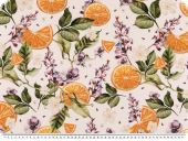 Deco fabric ,  loneta,  fruits and flowers, ecru-orange