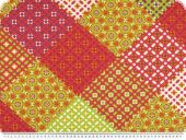 Deco fabric, flowers patch, red - multicolour, 140cm