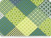 Deco fabric, flowers patch, green - multicolour, 140cm