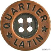 Button metal look, 4-hole, 20mm, copper
