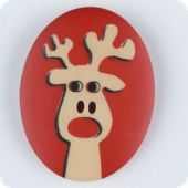 Button Christmas moos elk, 25mm, red
