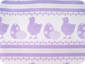 Easter fabric, jaquard, chicks and eggs, lilac