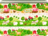 Nice deco fabric, sheep and cow, multicolour, 160cm