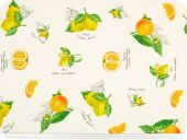 Highquality decoration fabric, satin, lemons, multicolour, 1