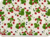 Highquality decoration fabric, satin, strawberries, multicol