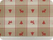 Checked decoration fabric, flowers, fir and deer, 140cm
