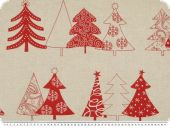 Decoration fabric, firs, red, 150cm