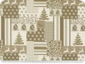 Decoration fabric, reindeer and stars, brown, 140cm