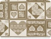 Decoration fabric, hearts, ecru- brown, 140cm