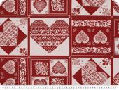Decoration fabric, hearts, ecru- red, 140cm