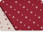 Decoration fabric, hearts and stars, ecru-red, 140cm