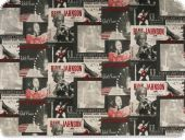 Deco fabric , music- record covers. multicolour,140cm